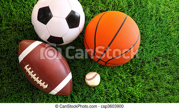 Assortment of sport balls on grass - csp3603900
