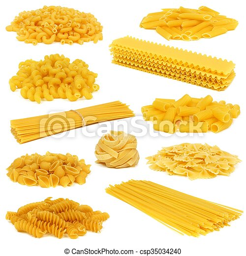 Assortment of uncooked dry pasta of differing types isolated on a white background - csp35034240