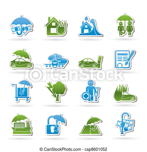 assurance, risque, icônes - csp8601052