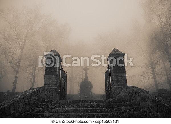 assustador, cemitério, antigas, entrada, floresta densa, nevoeiro - csp15503131