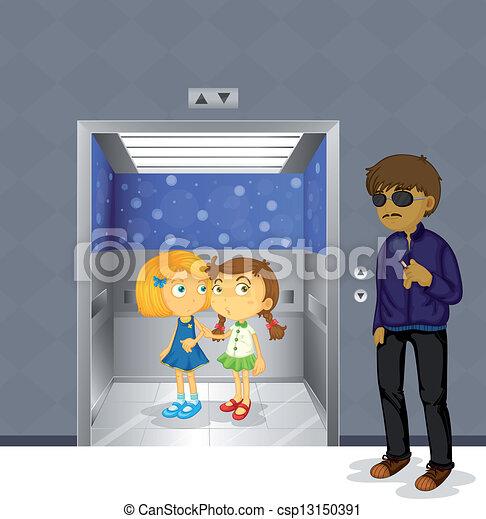assustador, dentro, meninas, jovem, elevador, exterior, homem - csp13150391
