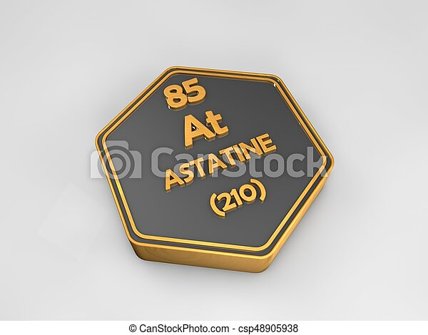 Astatine At Chemical Element Periodic Table Hexagonal Shape 3d