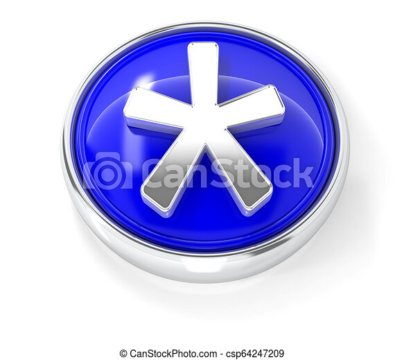 Asterisk icon on glossy blue round button - csp64247209