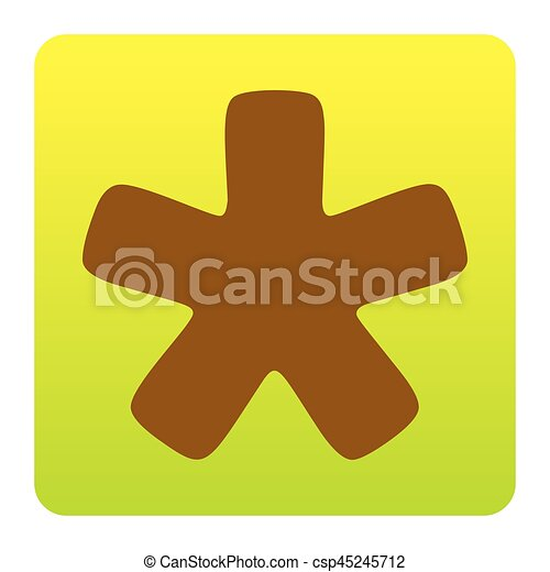 Asterisk star sign. Vector. Brown icon at green-yellow gradient square with rounded corners on white background. Isolated. - csp45245712