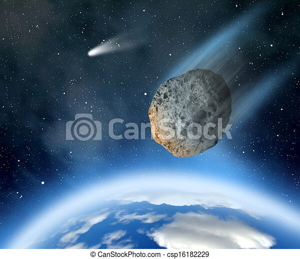 Asteroid falling on Earth. - csp16182229