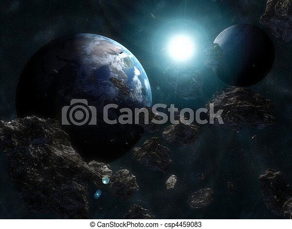 Asteroid infront of the earth - csp4459083