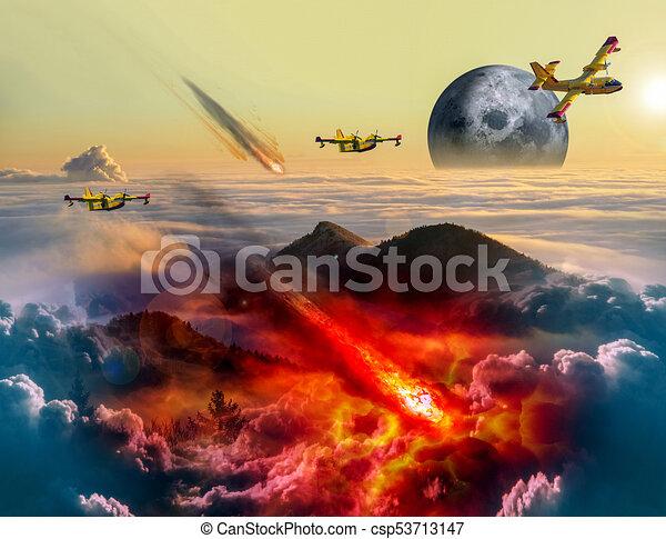 Asteroid strikes the earth - csp53713147