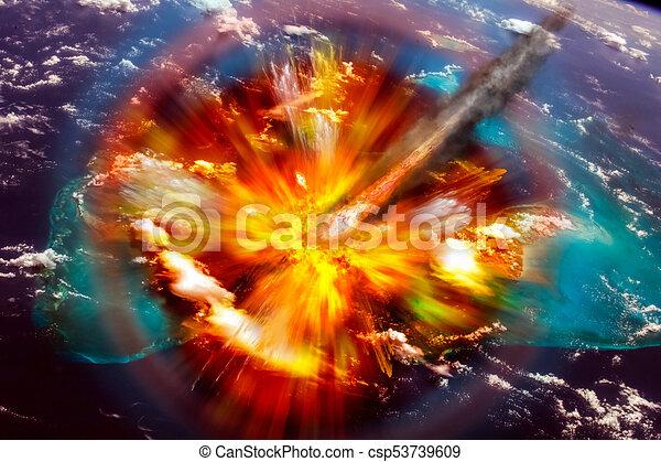 Asteroid strikes the earth - csp53739609