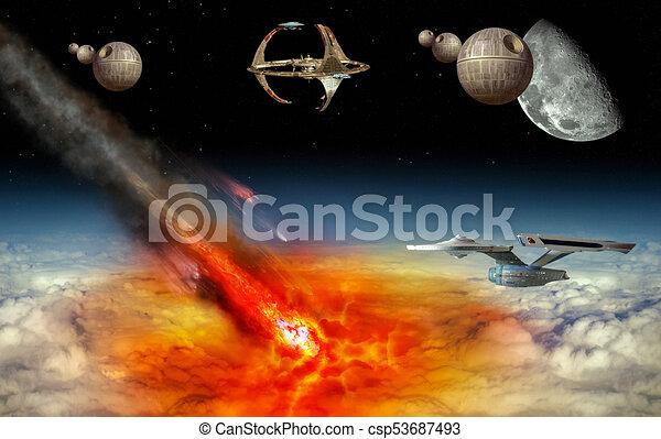 Asteroid strikes the earth - csp53687493