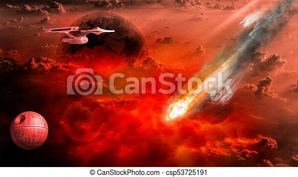 Asteroid strikes the earth - csp53725191