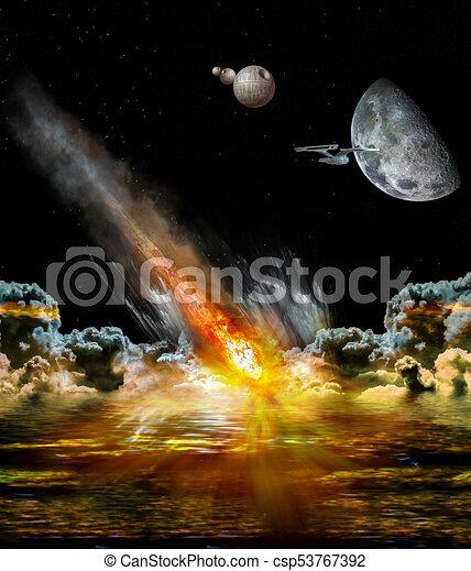 Asteroid strikes the earth - csp53767392
