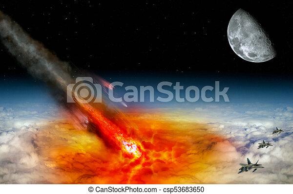 Asteroid strikes the earth - csp53683650