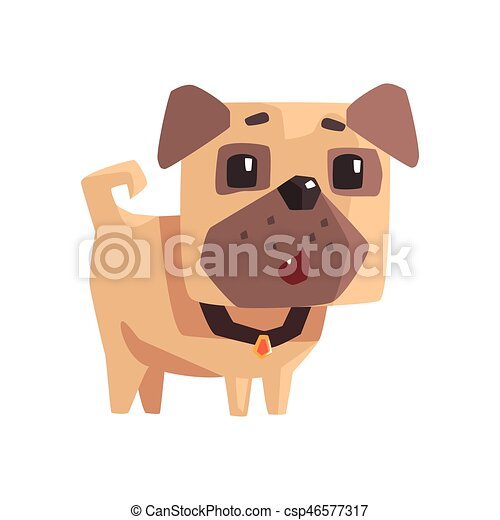Astonished Little Pet Pug Dog Puppy With Collar Emoji Cartoon