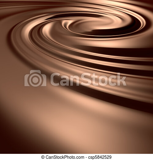 Astonishing chocolate swirl. Clean, detailed render. Backgrounds series. - csp5842529