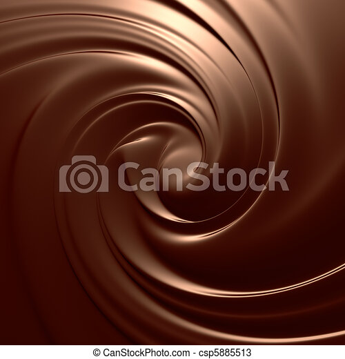 Astonishing chocolate swirl. Clean, detailed render. Backgrounds series. - csp5885513
