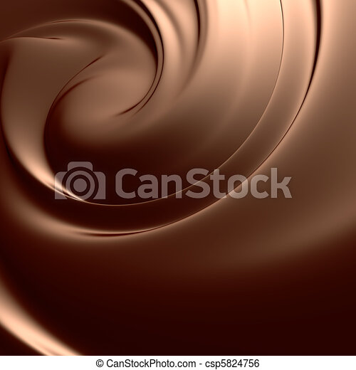 Astonishing chocolate swirl. Clean, detailed render. Backgrounds series. - csp5824756