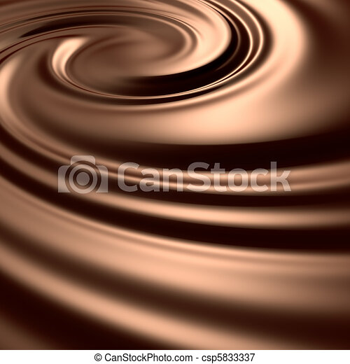 Astonishing chocolate swirl. Clean, detailed render. Backgrounds series. - csp5833337