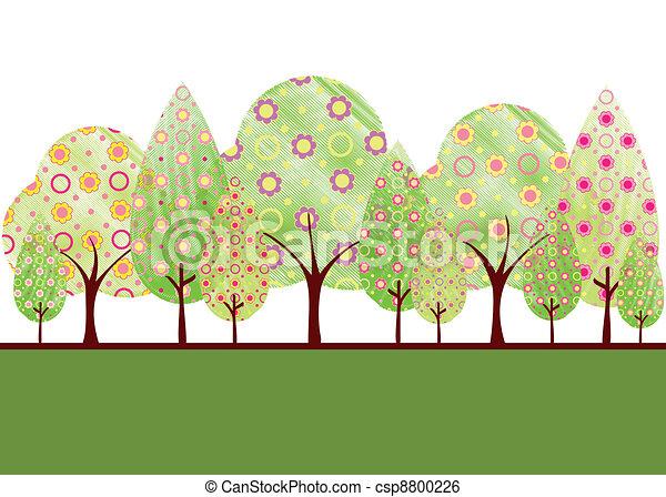 astratto, fiore, albero, primavera, colorito - csp8800226