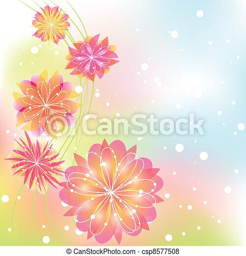 astratto, fiore, primavera, colorito - csp8577508