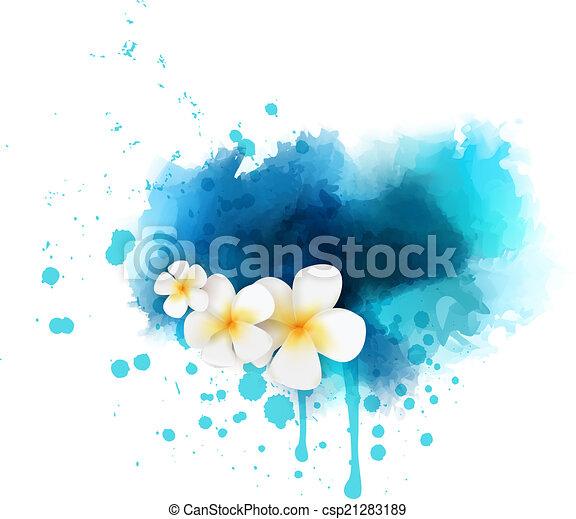 astratto, fiori, plumeria, fondo - csp21283189