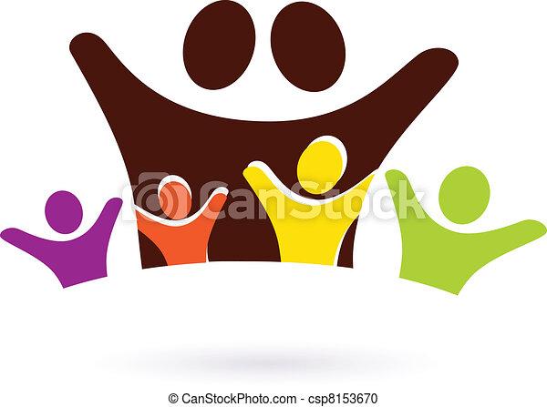 astratto, isolato, icona, famiglia, quattro, bambini, bianco - csp8153670