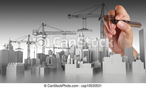 astratto, mano, disegnato, costruzione - csp10530531