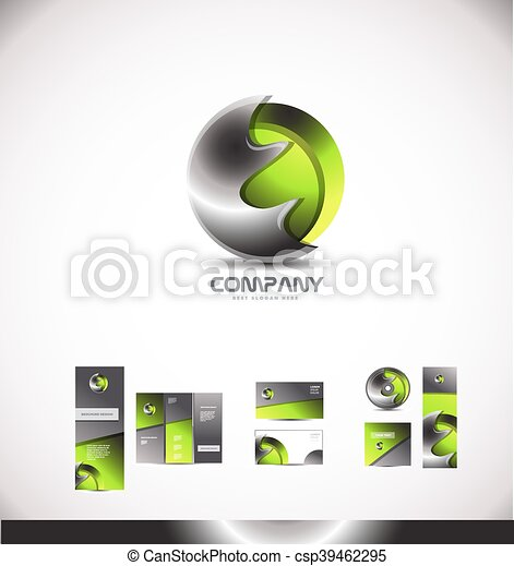 astratto, metallo, sfera, verde, logotipo, 3d - csp39462295