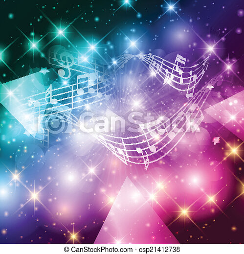 astratto, note musica, fondo - csp21412738