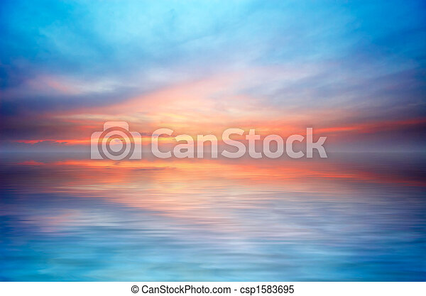 astratto, oceano tramonto - csp1583695