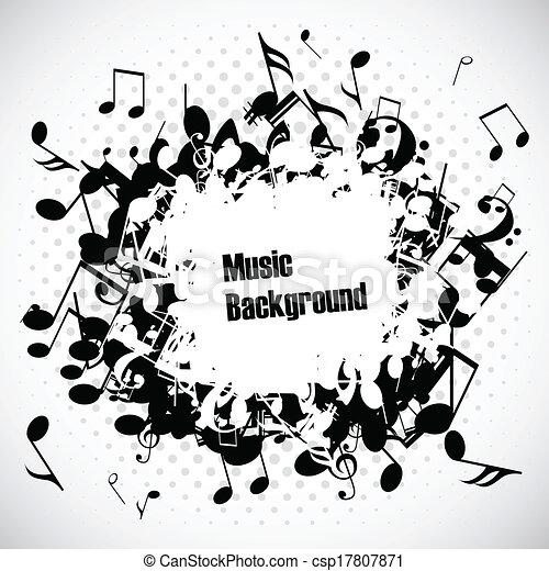 astratto, vettore, musica, fondo, note - csp17807871