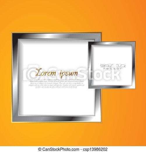 astratto, vettore, squadre, argento, cornice - csp13986202