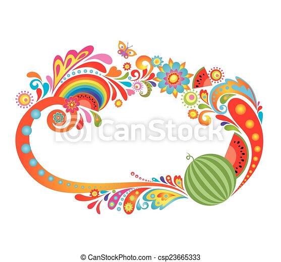 astratto, waterm, cornice, colorito - csp23665333