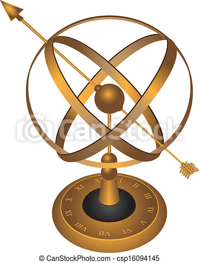 Astrolabe. Metal spherical astrolabe used for basic ...
