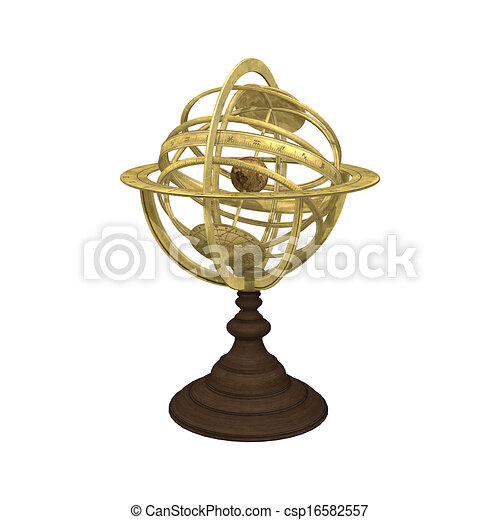 3d digital render of an old astrolabe isolated on white ...