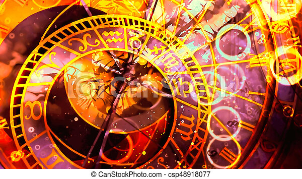 astrological symbol Zodiac. Abstract color background. Computer collage. - csp48918077