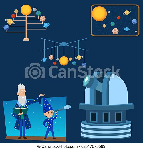 Astrology astronomy icons planet science universe space radar cosmos sign universe vector illustration. - csp47075569