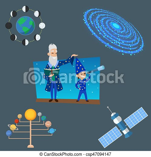 Astrology astronomy icons planet science universe space radar cosmos sign universe vector illustration. - csp47094147