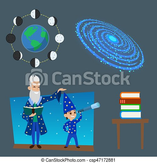Astrology astronomy icons planet science universe space radar cosmos sign universe vector illustration. - csp47172881