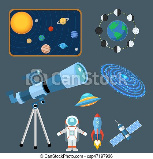 Astrology astronomy icons planet science universe space radar cosmos sign universe vector illustration. - csp47197936