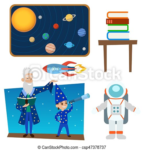 Astrology astronomy icons planet science universe space radar cosmos sign universe vector illustration. - csp47378737