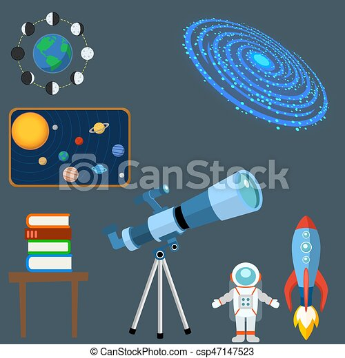 Astrology astronomy icons planet science universe space radar cosmos sign universe vector illustration. - csp47147523