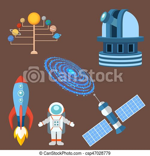 Astrology astronomy icons planet science universe space radar cosmos sign universe vector illustration. - csp47028779