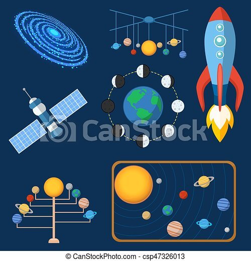 Astrology astronomy icons planet science universe space radar cosmos sign universe vector illustration. - csp47326013