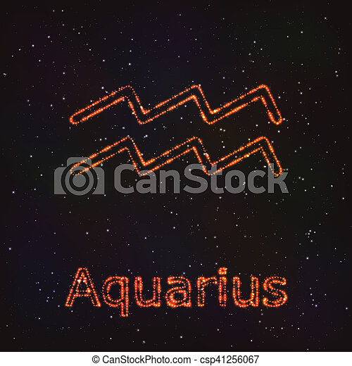 Astrology Shining Symbol. Zodiac Aquarius. - csp41256067