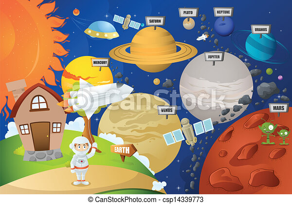 Astronaut and planet system - csp14339773