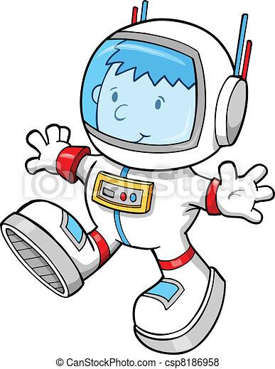 Astronaut Color Cartoon boy Vector - csp8186958