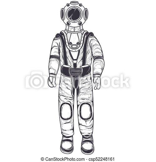 Astronaut, cosmonaut in a space suit and helmet