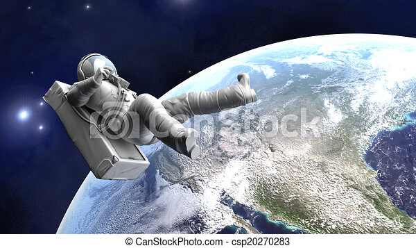 Astronaut floating over the Earth - csp20270283
