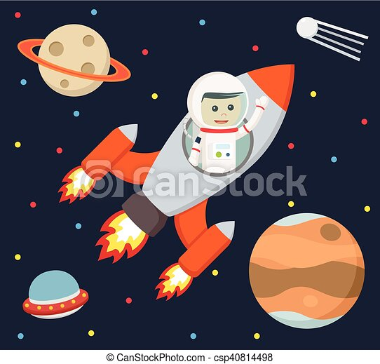 astronaut flying with rocket - csp40814498