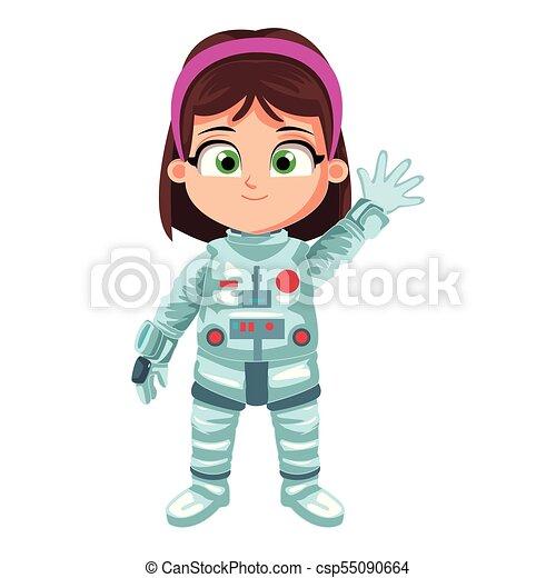 Astronaut girl cartoon - csp55090664